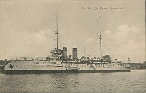 HNLMS De Zeven Provinciën (1909) - Image: De Zeven Provinciën in port, 1910
