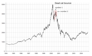 Dead cat bounce - Multiple dead cat bounces in late 2000 after the dot-com bubble. (NASDAQ Composite Index)