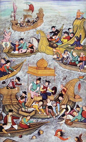 Gujarat Sultanate - Death of Bahadur Shah of Gujarat an Ottoman ally at Diu, in front of the Portuguese, in 1537; (Illustration from the Akbarnama, end of 16th century).