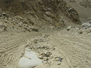 Debris flow - Debris flow channel with deposits left after 2010 storms in Ladakh, NW Indian Himalaya. Note coarse bouldery levees on both sides of the channel, and poorly sorted rocks on the channel floor.