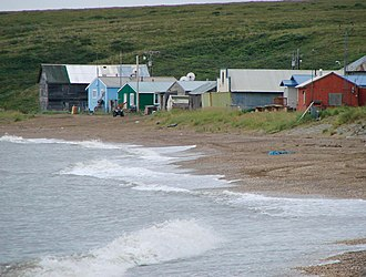 Deering, Alaska - Houses along the Chukchi Sea in Deering