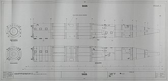 R-26 (missile) - Drawing made by the UK Defence Intelligence from observations and photographs made in a Red Square Military Parade 1964