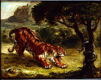 A Young Tiger Playing with Its Mother - Image: Delacroix Tiger and Snake