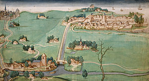 Schie - Image from 1512, showing Overschie (foreground), Rotterdam (top left), and Delfshaven (top right). Schiedam would be located to the right out of view.