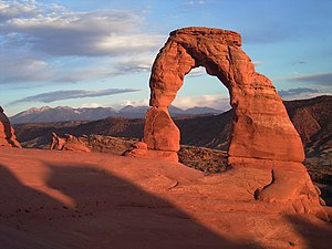 Arches National Park - Delicate Arch with background of La Sal Mountains