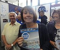Denain - Anne-Lise Dufour-Tonini présentant son projet de centre aquatique le 1er septembre 2018.JPG