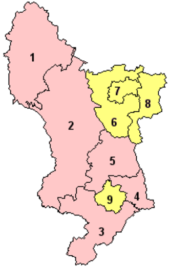 Local Government Commission for England (1992) - The Commission's final recommendations for county Derbyshire from 1993. Area Derby 9 would form a unitary authority, as would areas North East Derbyshire 6, Chesterfield 7 and Bolsover (district) 8. The rest of the county would remain two-tier. Ultimately only Derby would form a unitary authority.