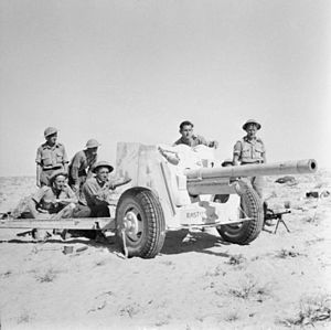 Ordnance QF 6-pounder - A 6-pounder anti-tank gun and its crew in action in the Western Desert, November 1942