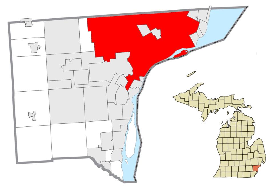 Location within Wayne County