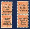 Deutsche Briefmarken mit Werbeaufdruck Salamander, Gütermann, Baden-Baden, Herpich Söhne.jpg