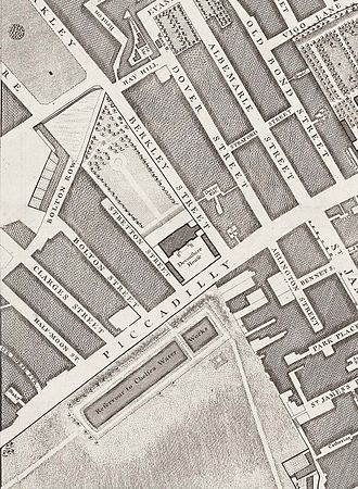 Devonshire House - The recently completed Devonshire House on John Rocque's 1746 map of London