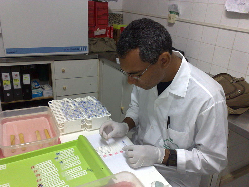 A biopharmaceutical technician tests lab samples