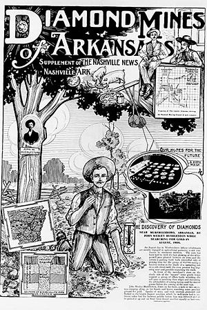 Crater of Diamonds State Park - A supplement to the Nashville News of nearby Nashville, Arkansas, advertising diamonds mining in the early 1900s