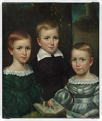 Emily Dickinson - The Dickinson children (Emily on the left), ca. 1840. From the Dickinson Room at Houghton Library, Harvard University.