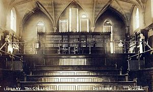 Didsbury Campus - The interior of the original college library in 1911. It was previously the chapel, and was known as the Old Chapel Building.