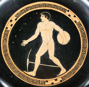 Discobolus - The discobolus motif on an Attic red-figured cup, ca. 490 BC, is static by comparison.