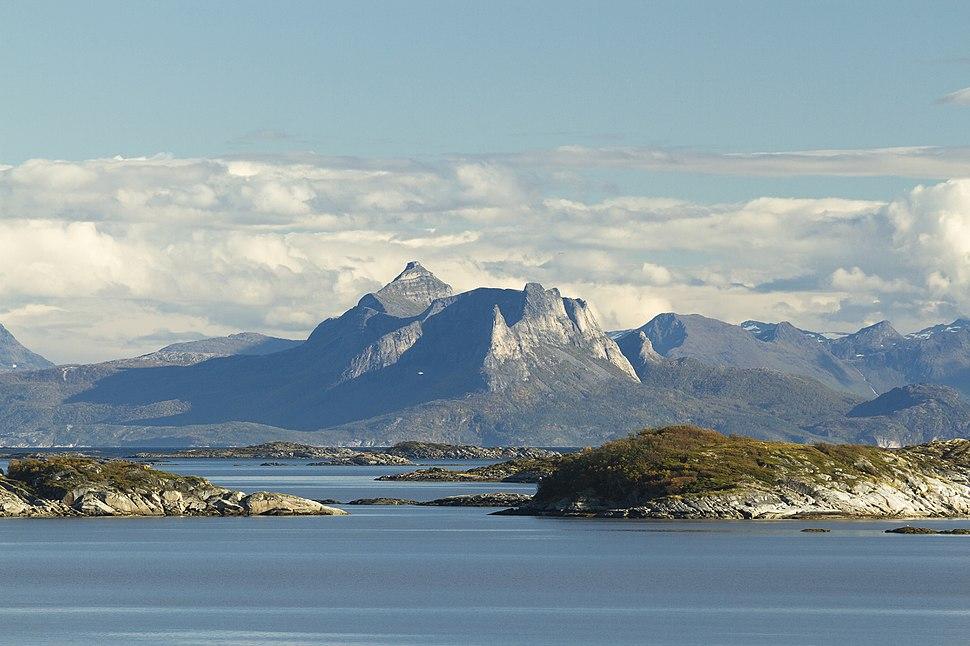 Distant massif of Hatten over Vestfjorden, Nordland, Norway, 2015 September