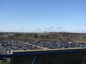 Dix Stadium - View from the top of Dix Stadium looking west towards the center of campus. The 12-story main library is visible in center, approximately 1.6 miles (2.5 km) away