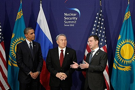 President Nazarbayev with US Barack Obama and Russian Dmitry Medvedev in 2012 Dmitry Medvedev in South Korea, March 2012-15.jpeg