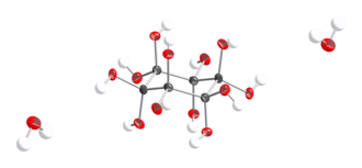 Dodecahydroxycyclohexane - Thermal ellipsoid model of the molecular cell of dodecahydroxycyclohexane dihydrate