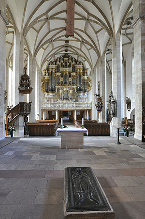 Merseburg Cathedral - View of the interior with the organ in the back and the tomb of Rudolf of Rheinfelden in front