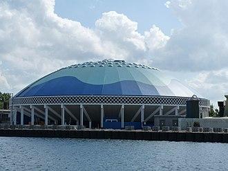 Dolfinarium Harderwijk - DolfijndoMijn dome of the Dolfinarium Harderwijk as seen from the outside of the park.