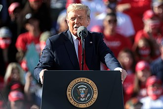 President Donald Trump during a campaign rally in 2020 Donald Trump (50548277763).jpg