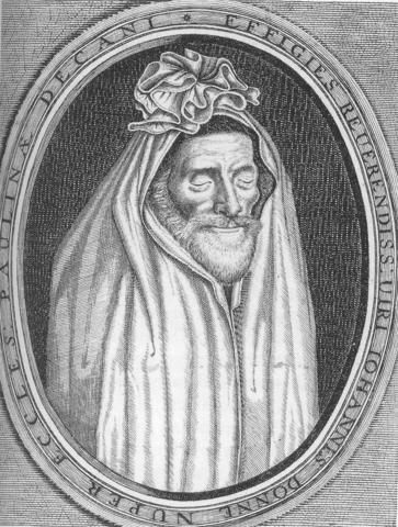 Гравюра с изображением верхней части надгробия, представляющая Донна в саване