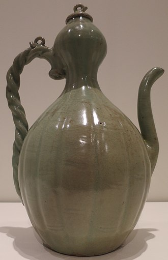 Goryeo ware - Celadon gourd-shaped kettle : This work is balanced and gives a sense of stability. It is a typical pure celadon of the 12th century. The glaze and the foundation soil are translucent, clean, grey-green, and harmonious.