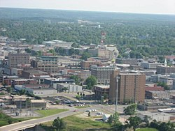Aerial view of downtown Joplin, 2009. The bridge is 2nd Street and the intersection is 2nd St. and Virginia Ave.