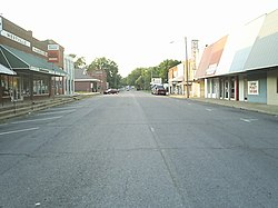 Downtown Westville north up Williams Street. The Buffington Hotel can be viewed on the left, at the top of the photo.