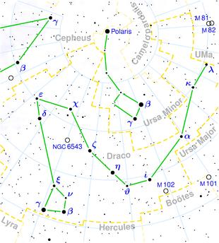 Karte des Sternbildes Drache