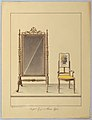 Drawing, Mirror on Swivel Floor Stand and open arm Chair, floral motif, 1860 (CH 18801947).jpg