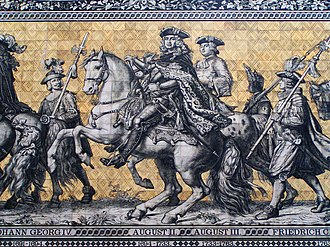 Saxony - Late 17th and 18th century electors of Saxony, as depicted on a frieze on the outside wall of Dresden palace