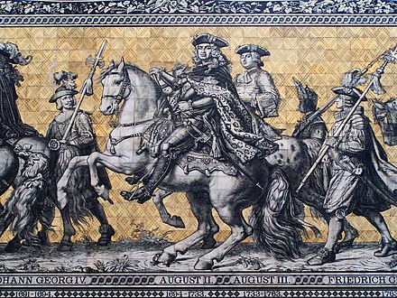 Late 17th and 18th century electors of Saxony, as depicted on a frieze on the outside wall of Dresden palace Dresden Fuerstenzug 2.jpg