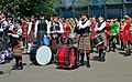 Drummers and bagpipers of the International Celtic Pipes and Drums 1.jpg
