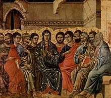A typical Western image of the Pentecost. Duccio di Buoninsegna (1308) Tempera on wood.