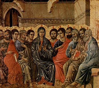 Pentecost - A typical Western image of the Pentecost. Duccio di Buoninsegna (1308)