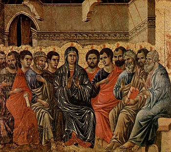 A typical Western image of the Pentecost. Ducc...