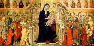 Italian art - The main panel of the Maestà by Duccio, 1308–1311