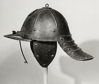 Lobster-tailed pot helmet burgonet with a long neck guard
