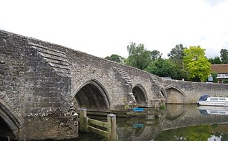 East Farleigh Bridge - The west side of the bridge looking south showing the cutwaters and the blind arch