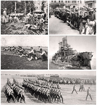 Eastern Front (World War I) - Clockwise from top left: soldiers stationed in the Carpathian Mountains, 1915; German soldiers in Kiev, March 1918; the Russian ship Slava, October 1917; Russian infantry, 1914; Romanian infantry.