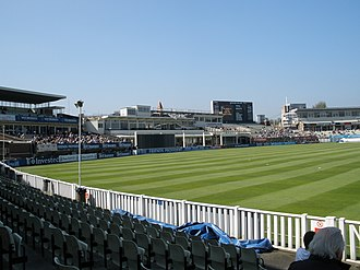 Edgbaston Cricket Ground - Edgbaston in 2008: the former Pavilion, Leslie Deakins and R. V. Ryder Stands, all now demolished.