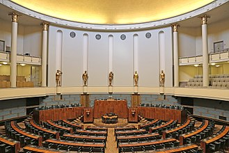 Parliament - Session Hall of Parliament of Finland.