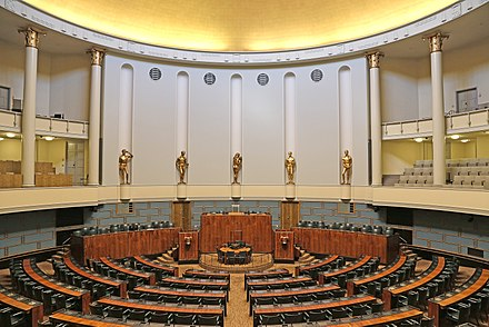 Session Hall of Parliament of Finland. Eduskunta istuntosali.jpg
