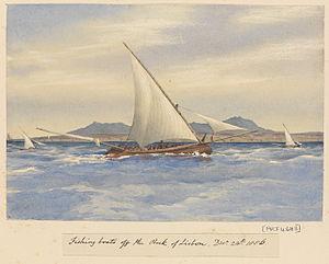 Edward Gennys Fanshawe, Fishing boats off the Rock of Lisbon, Decr 24th 1856 (Portugal).jpg