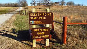 Eleven Point State Park - Sign at entrance to Eleven Point State Park.