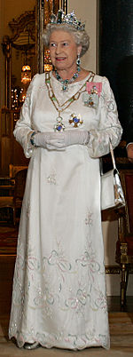 Elizabeth II during a state banquet at Buckingham palace wearing the Grand Collar of the Order of the Southern Cross