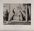 Elizabeth kneels before Mary. Engraving by F. Keller after F Wellcome V0034593.jpg